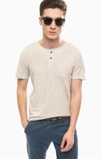 Серая хлопковая футболка Tom Tailor Denim
