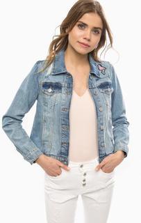 Рваная джинсовая куртка с вышивкой Tom Tailor Denim