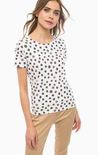 Белая хлопковая футболка в горошек Lerros