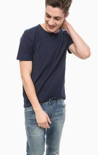 Синяя футболка с воротом на пуговицах Tom Tailor Denim