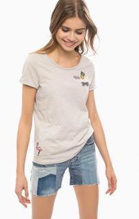 Серая хлопковая футболка с круглым вырезом Tom Tailor