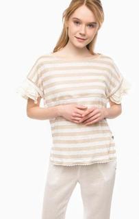 Льняная футболка с вставками из вискозы Pennyblack