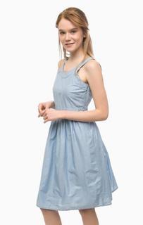 Синее платье из хлопка с расклешенной юбкой Pennyblack