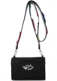 Маленькая черная сумка с широким плечевым ремнем Braccialini