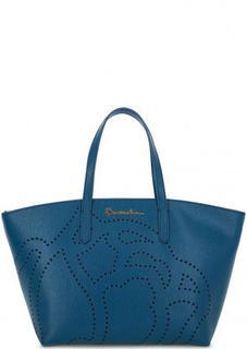 Синяя кожаная сумка с перфорацией Braccialini