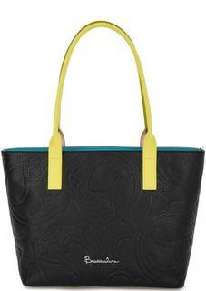 Вместительная кожаная сумка с длинными ручками Braccialini