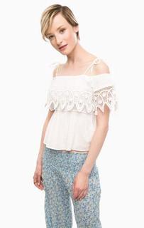 Белая блуза с кружевными вставками D&S Ralph Lauren