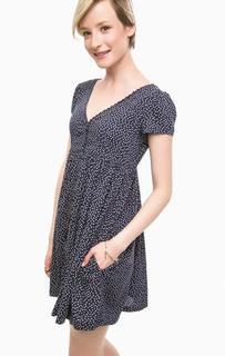 Короткое синее платье в горошек D&S Ralph Lauren