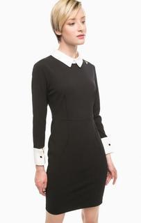 Короткое черное платье с контрастными вставками Pois