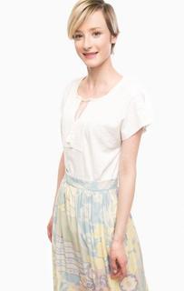 Белая хлопковая футболка с короткими рукавами Olsen