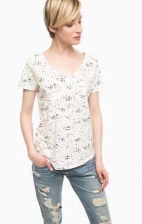 Белая хлопковая футболка с карманом Ichi