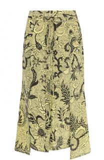 Шелковая юбка асимметричного кроя с принтом Diane Von Furstenberg