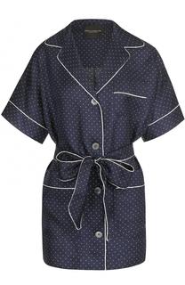 Шелковая блуза в пижамном стиле с поясом Erika Cavallini
