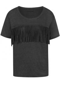 Льняная футболка прямого кроя с бахромой Zadig&Voltaire Zadig&Voltaire