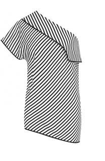 Шелковый топ асимметричного кроя в полоску Diane Von Furstenberg