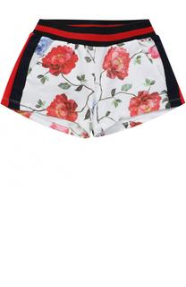 Хлопковые шорты с лампасами и принтом Monnalisa