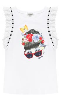 Хлопковая футболка с принтом и декорированными рукавами Monnalisa
