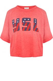 Укороченная футболка с контрастным логотипом бренда Saint Laurent