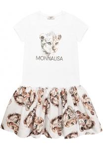 Хлопковое платье с принтом и стразами Monnalisa