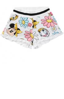 Хлопковые шорты с принтом и оборками Monnalisa