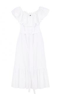 Кружевное платье с открытыми плечами и поясом Lisa Marie Fernandez