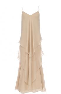 Шелковое многоярусное платье-комбинация Ralph Lauren