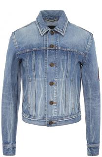 Джинсовая куртка с потертостями и нашивкой Saint Laurent