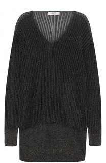 Удлиненный пуловер с металлизированной отделкой Lanvin