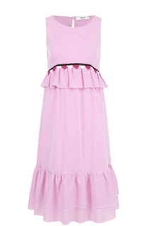 Хлопковое платье-миди в контрастную полоску Blugirl