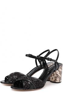 Плетеные босоножки на каблуке с отделкой из кожи питона Casadei