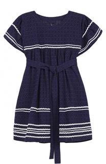 Хлопковое мини-платье с контрастной отделкой Lisa Marie Fernandez