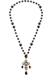 Ожерелье с подвеской-крестом с кристаллами Dolce & Gabbana