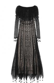 Кружевное шелковое платье с открытыми плечами Alexander McQueen