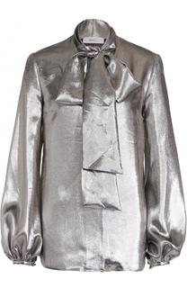 Блуза с воротником-аскот и металлизированной отделкой Racil