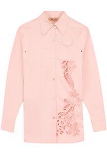 Блуза с перфорацией и декорированной спинкой No. 21