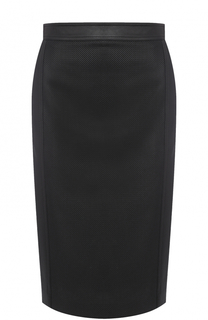 Перфорированная кожаная юбка-карандаш Ralph Lauren