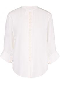 Шелковая блуза с круглым вырезом и укороченным рукавом Chloé