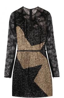 Мини-платье с кружевной отделкой и пайетками Elie Saab