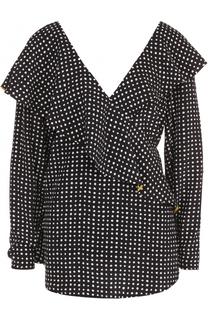 Шелковая блуза в горох с оборками Diane Von Furstenberg