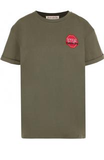 Хлопковая футболка с контрастной отделкой Etre Cecile