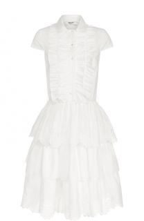 Платье-рубашка с многоярусной юбкой и оборками Blugirl