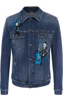 Джинсовая куртка с аппликациями Dolce & Gabbana