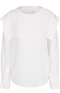 Шелковая блуза с кейпом и погонами Chloé