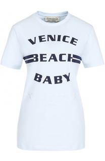Хлопковая футболка с контрастной надписью Etre Cecile