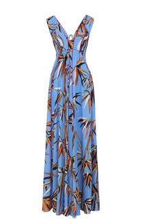 Шелковое платье-макси с ярким принтом Emilio Pucci