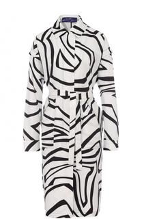 Пальто с контрастным принтом и поясом Emilio Pucci
