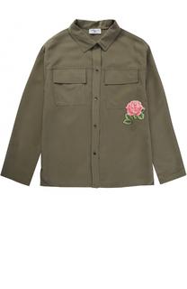 Блуза с накладными карманами и нашивкой Monnalisa
