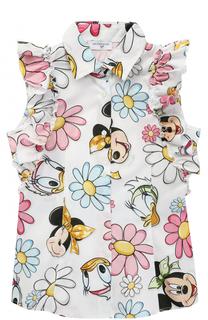 Хлопковая блуза с принтом и рюшами Monnalisa