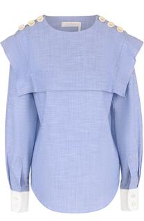 Хлопковая блуза с кейпом и погонами Chloé