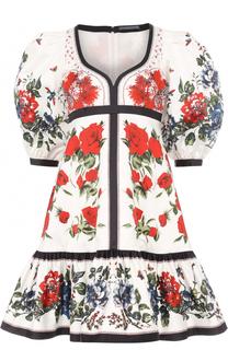 Платье с рукавом-фонарик и цветочным принтом Alexander McQueen